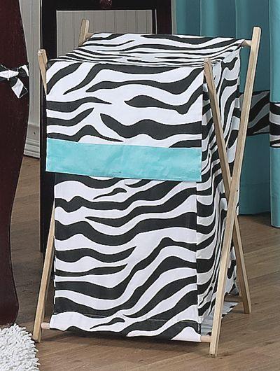 Zebra Print Clothes Laundry Hamper / Basket Turquoise Blue Black & White
