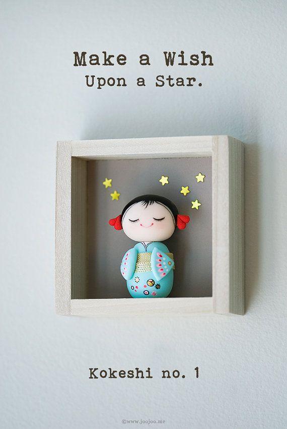 Polymer clay miniature doll Kokeshi doll OOAK by JooJooTreasures, $125.00