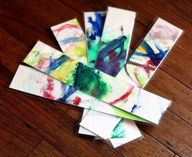 great way to repurpose some of your kids artwork -- bookmark gifts the kids can make