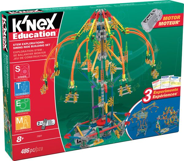 K'NEX Education STEM Explorations Swing Ride Building Set - Explore STEM concepts while building a motorized Swing Ride! Using the materials included in this set, middle-school aged children will be engaged and energized as they further their knowledge and understanding of the science, technology, engineering and math concepts associated with a real-life amusement park ride.