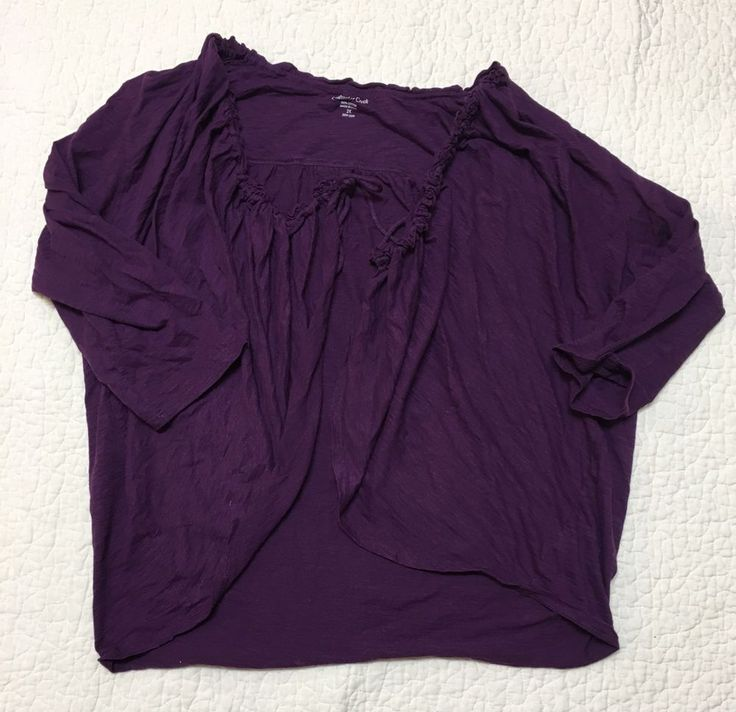 coldwater creek womens purple wear to work casual cardigan plus size 2X #ColdwaterCreek #Blouse #Casual