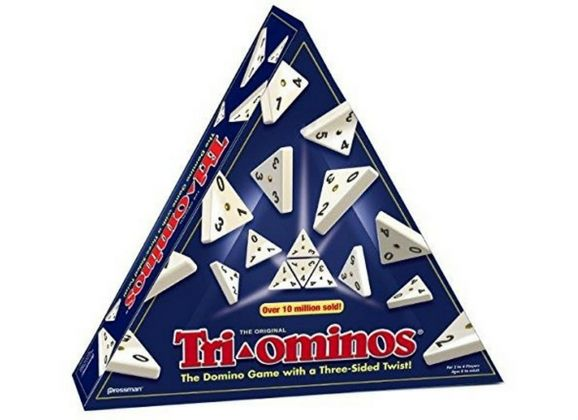 TRI-OMINOS -THE DOMINO GAME WITH A THREE-SIDED TWIST!  Tri-ominos ® adds a whole new dimension to dominoes, creating extra strategy, extra play, and extra fun!