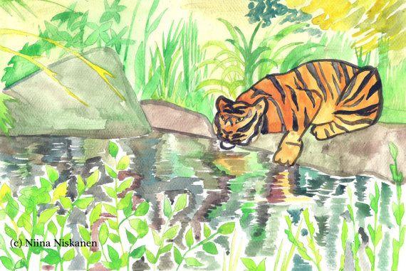Tiger Reflections - Tiger Original Watercolor Painting - Jungle Tiger - Tiger Art - Big Cat Wild Cat Painting