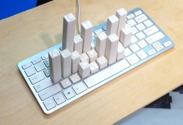Mike Kneupfel, a student at NYU's Interactive Technology Program, made a 3D model showing the keys he presses most frequently when typing, composed of raised keys on a keyboard.