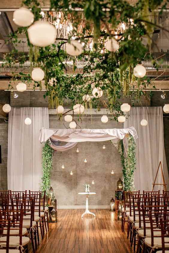 Wedding Greenery Decor with Hanging Lights  marry me  Indoor Wedding Indoor wedding arches