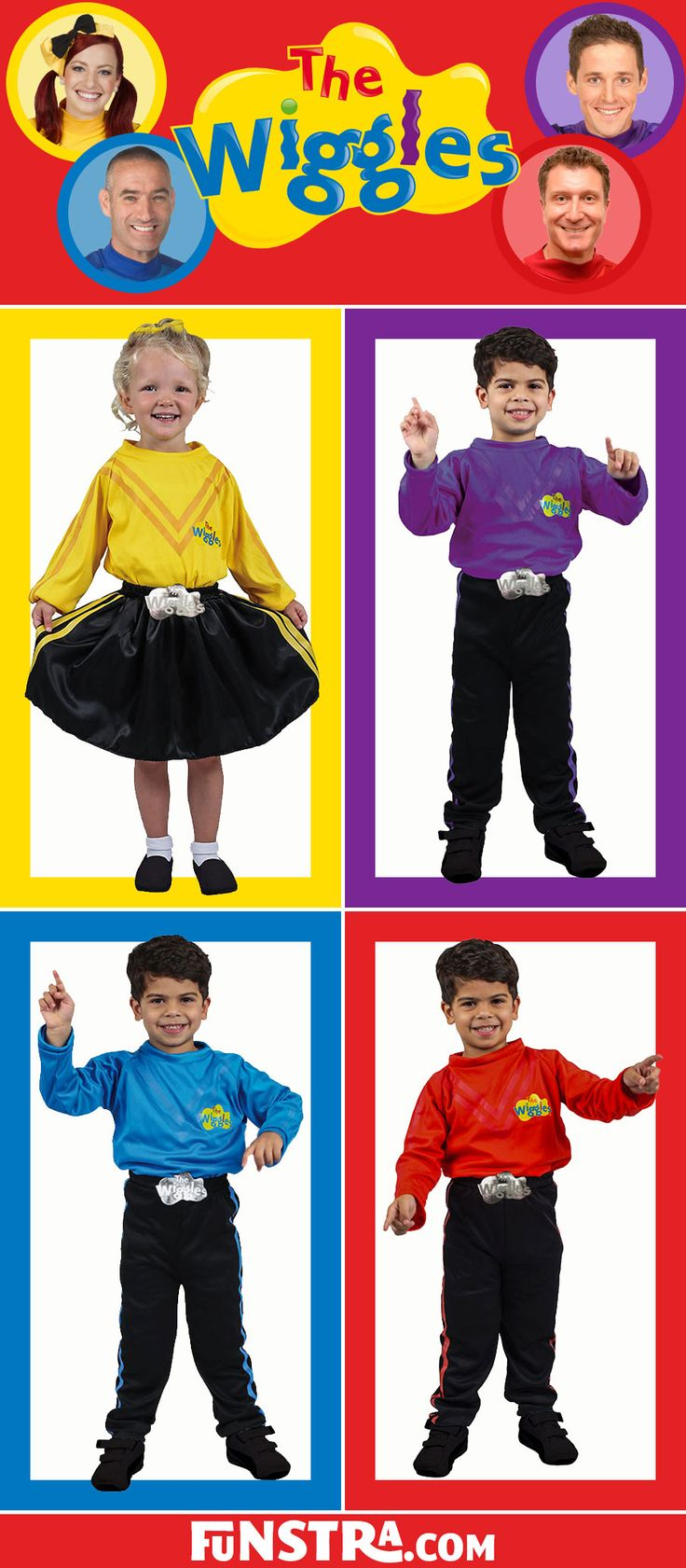 The Wiggles Costumes available now at Funstra. Dress up as Emma in yellow, Lachy in purple, Simon in red or Anthony in blue and sing, dance, wiggle and giggle with our Wiggles costumes.