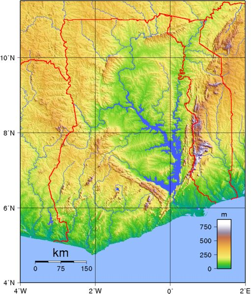 Carte topographique du #Ghana