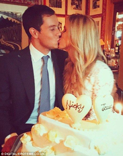 Rehearsal dinner: Nicky's brother Barron Hilton posted this intimate snap of the couple on...