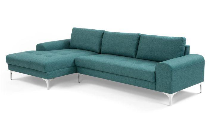 Vittorio Left Hand Facing Corner Sofa Group, Teal | made.com
