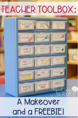 Click out these teacher toolbox makeover!  This post has two editable teacher toolbox labels with clip art and a FREEBIE.  Your school supplies will be so much more organized with this teacher toolbox!