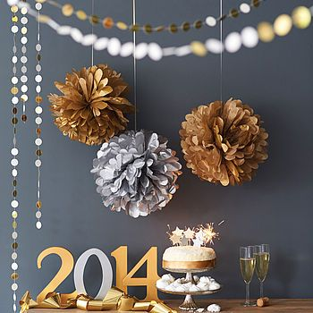 Metallic Hanging Pom Pom Decoration NYE DIY New Years Eve. Gold and Silver. Champagne, garland, pompoms, sparklers. Glittery, shiny, metallic, sparkly, impressive easy decor.