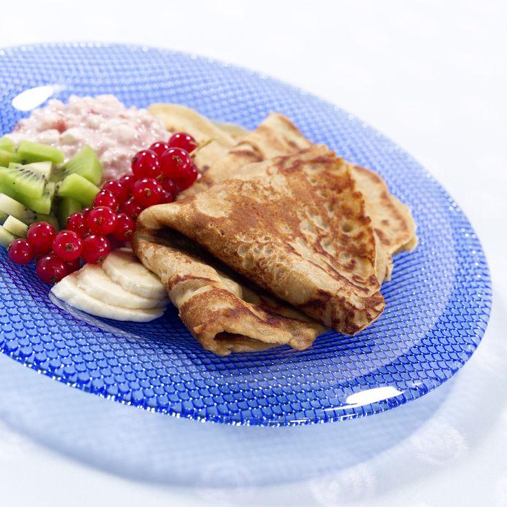 Grove pannekaker: Grove pannekaker med friskt tilbehør. En enkel middagsvariant i en travel hverdag.