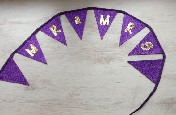 Wedding Glitter Bunting Mr and Mrs Purple and Gold by BellaandRoo