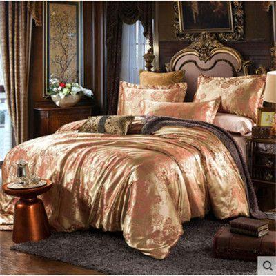 Luxury bedding set Silk 4pcs bedclothes bed linen sets Queen King size Quilt/duvet cover set bedsheets cotton bedcover