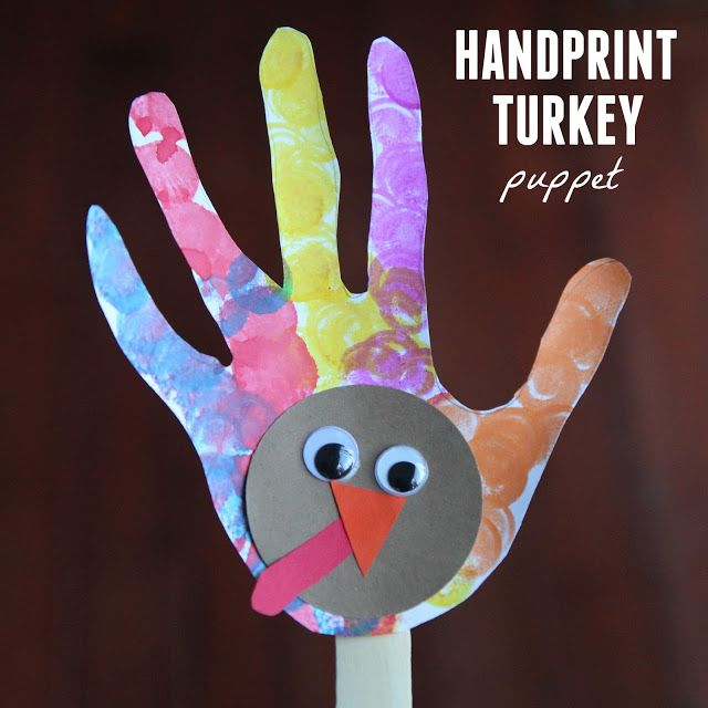 Handprint Turkey Puppet Thanksgiving Crafts For KidsThanksgiving