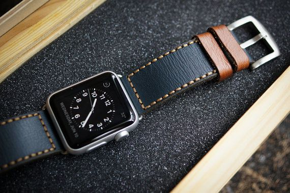 Handmade Vintage Leather Strap incl. Lugs Adapter for Apple Watch (or Apple Watch Sport) 42mm or 38mm