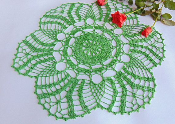 Lace Doily Crochet Green Cotton Doily  Round Table by MaddaKnits