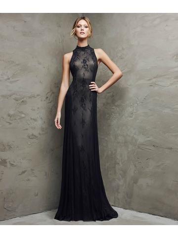 Gaas en tule uitlopende jurk met halter nek versierd met kant