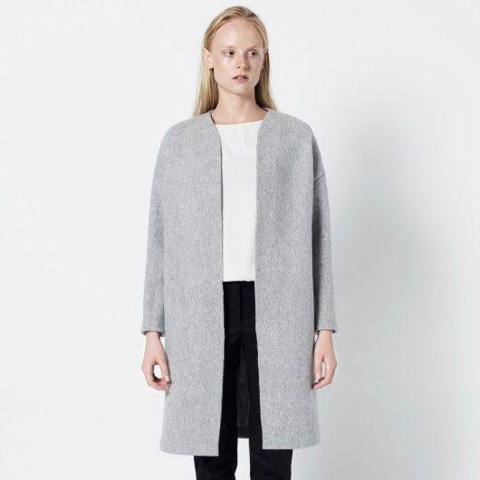 Jasnoszary sweter / płaszczyk • wełna