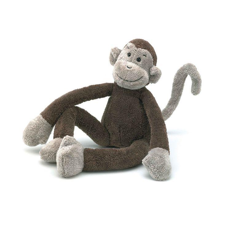 Slackajack monkey van Jellycat is een vrolijke aap die graag met je mee op reis wilt. Zijn lange slappe armen, benen en krulstaart zijn gemakkelijk vast te houden.  De zachte vacht en zijn lachende gezicht zijn altijd weer geruststellend. De kans is groot dat een knuffel van Jellycat de lievelingsknuffel wordt.