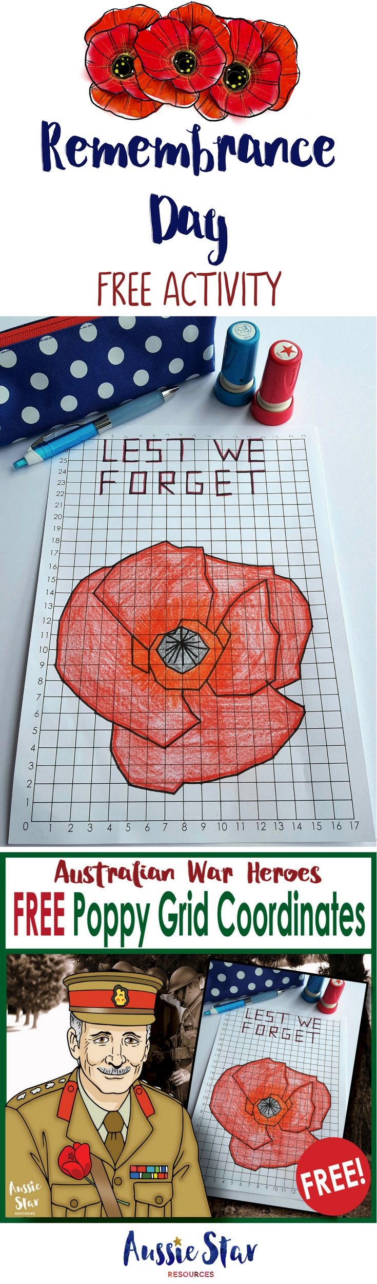 This FREE Remembrance Day teaching resource is a great activity for your upper primary students. This challenging grid coordinates maths activity can be incorporated in to your maths and HASS or History lessons. With 186 steps it will keep your Year 5, 6 & 7 students focused and engaged! Download it for FREE in our store now by clicking on the image.