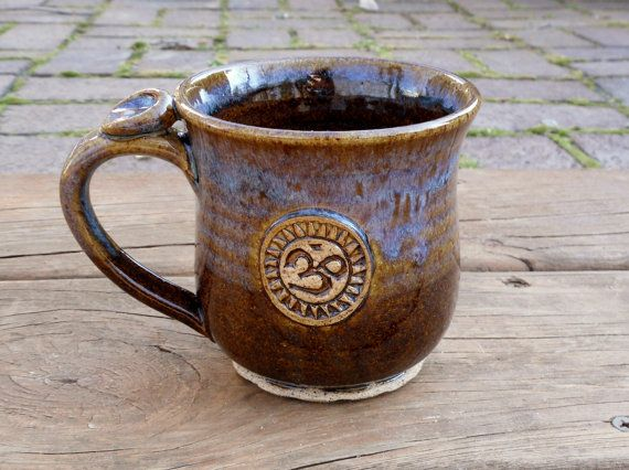 How would you like to sip your tea in this!? Gorgeous! Ceramic Mug Yoga Ohm Om Tea Coffee by ThrowingShop on Etsy, $24.00