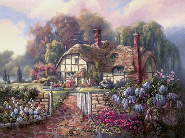 Wisteria Summer by Carl Valente ~ English country cottage ~ beautiful floral gardens