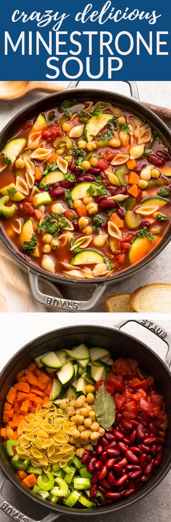 Homemade Minestrone Soup makes the perfect easy comforting meal. Best of all, it's an easy set and forget recipe and is so much healthier and better than Olive Garden's version! Made entirely in your slow cooker or the stovetop and SO delicious! #minestronesoup #soup #minestrone #vegetables #vegetarian #heart #comfortfood #soup #olivegarden #copycat #olivegardencopycat