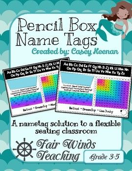 Flexible Seating Pencil Box Name Tags Need a solution for your students not having their name tags because they are flexible seating? This pencil box name tag goes along with them and serves as a teaching tools as well. ☠ ARGG! ☠