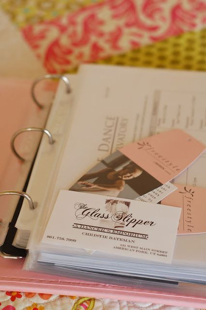 Nice and simple! Cute idea for a little dancer: A dance book that holds pictures, programs, and other keepsakes from each performance.