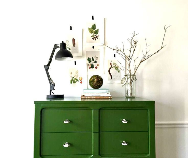 Dresser styling, how to style a dresser, styling a dresser, High Gloss Green & Styling a Highboy — StyleMutt Home - Your Home Decor Resource For All Breeds Of Style