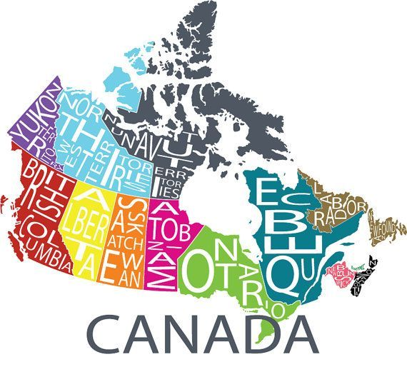 Typographic Map of Canada by FabulousFelties on Etsy