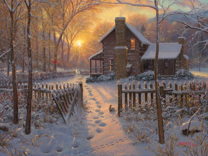 Welcome Winter by Mark Keathley ~ cabin sunrise snow country peaceful