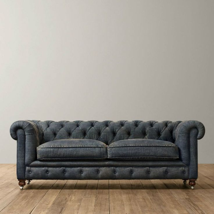 Chesterfield Sofa (Handmade-Denim) by UPTOWNFURNITURE on Etsy