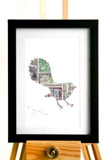 An original handcrafted art piece depicts a NZ Fantail sized at standard A6 (105x148mm).      Using vintage postage stamps as an art form, this stencil-based piece creates an original one of a kind work, numbered and signed by the artist.   The stamps generally commemorate special events or people such as artists, wild life, Maori traditions and many other elements specific only to New Zealand. The artwork is 99% recycled professionally mounted on corrugate board.       Packaged in a ...