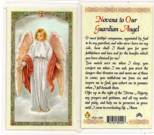 Guardian Angel Novena Prayer Card. Strengthen your belief in divine protection with the Guardian Angel Novena Prayer Card. When said with a devoted heart, the Catholic novena prayer on the back of this card is a powerful invocation that is a perfect accompaniment to your rosary prayers.