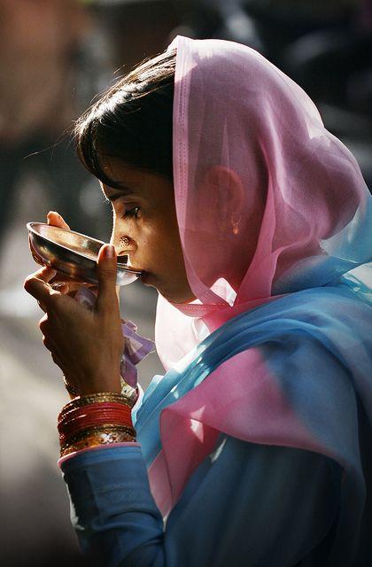 Indian way to drink tea. www.teacampaign.ca  Source: see below.: