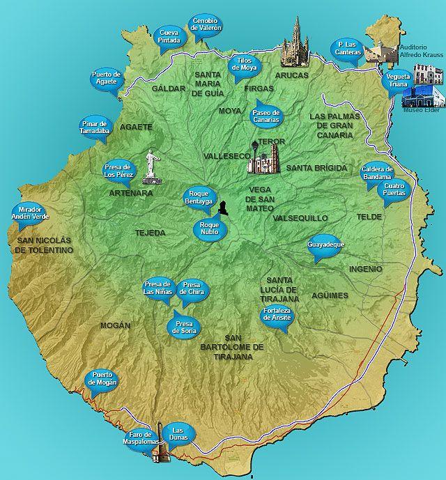 Mapa Gran Canaria Isla De Gran Canaria Islas Canarias Mapas