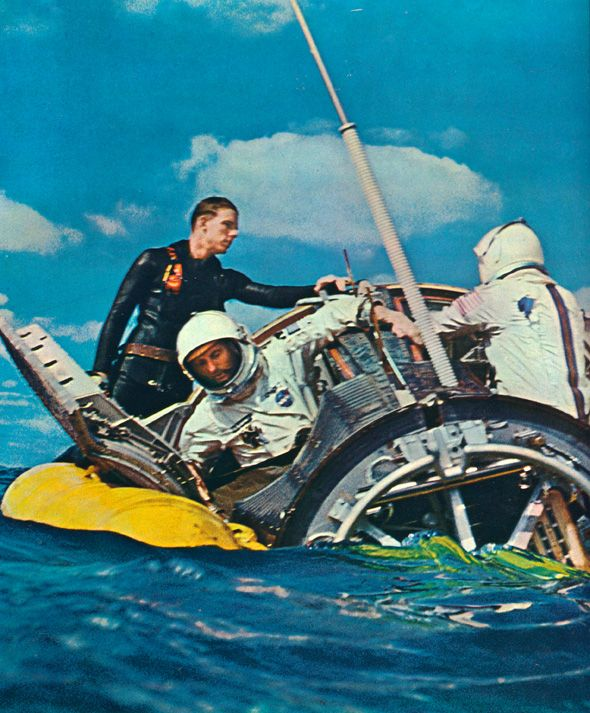 Gemini 6 splashes down 26 hours after launch.