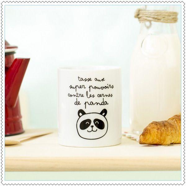 """Image of Mug """"Aux super-pouvoirs contre les cernes de panda"""""""