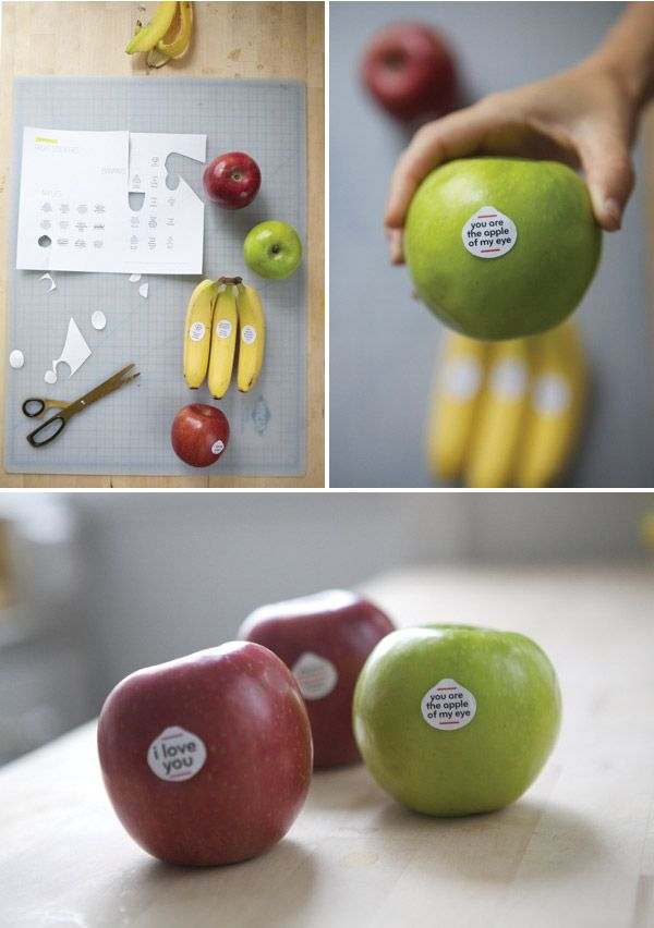 fruit stickers for kid's school lunches - lovely idea...