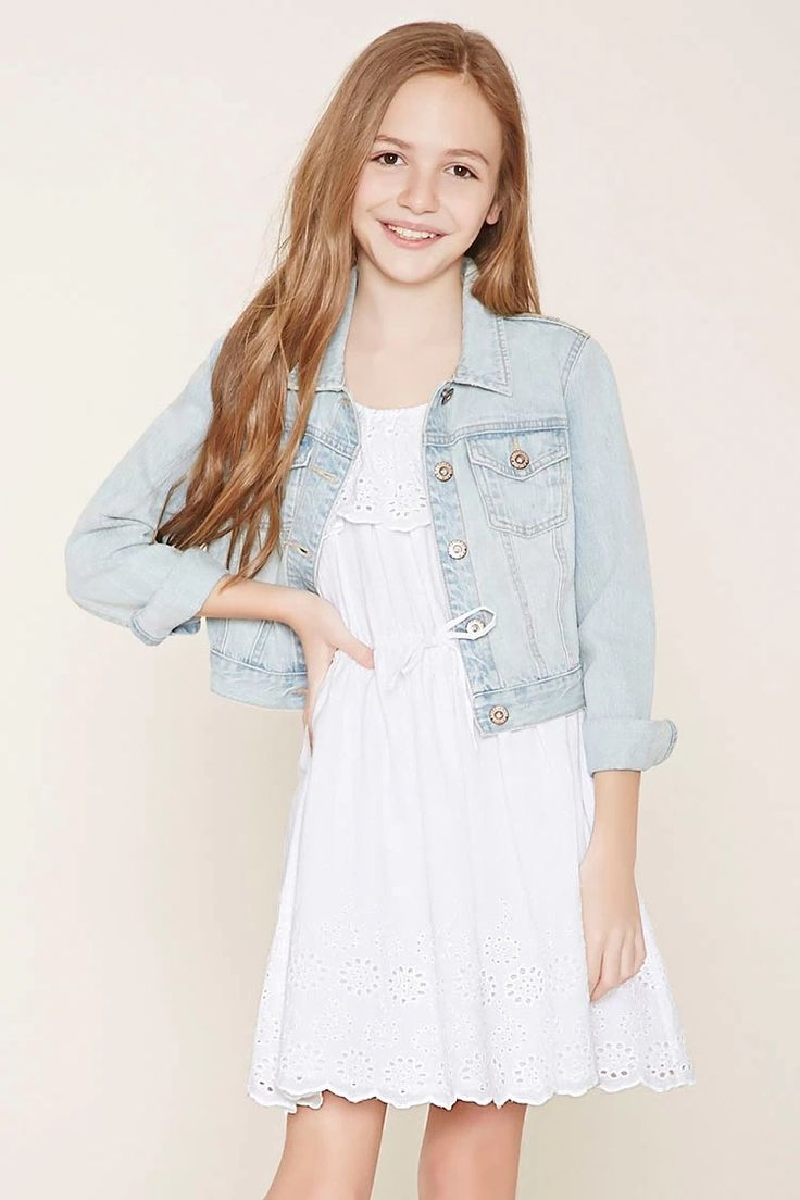 Forever 21 Girls - A woven cami dress featuring adjustable straps, an elasticized waist with a drawstring accent, and eyelet embroidery at its flounce-layered bodice and scalloped hem. #f21kids