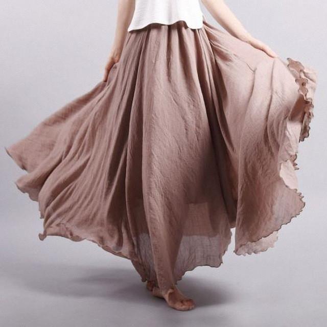 Cotton Elastic Waist Pleated Maxi Skirts