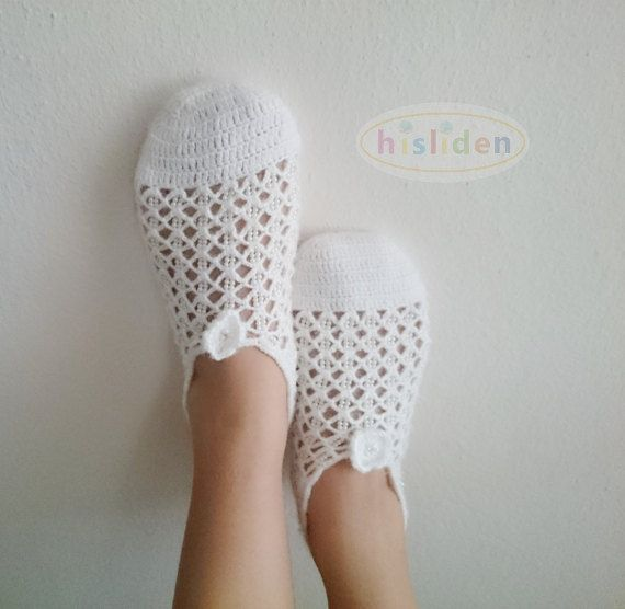 Wedding Slippers Crochet Bridal Shoes White Crocheted Slippers