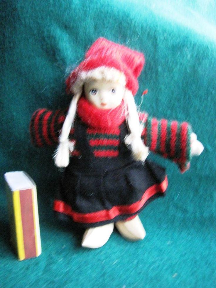Vintage Wood Porcelain Swedish People Figure Girl Doll Sweden very rare