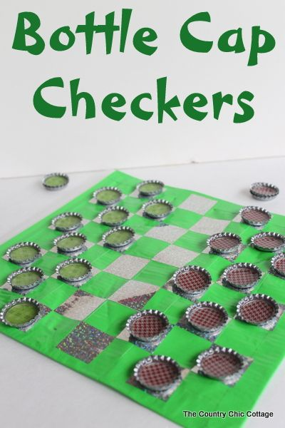 DIY Travel Bottle Cap Checkers how to make your own. Get your bottle cap supplies at www.fizzypops.com  #bottlecaps #fizzypopscrafts