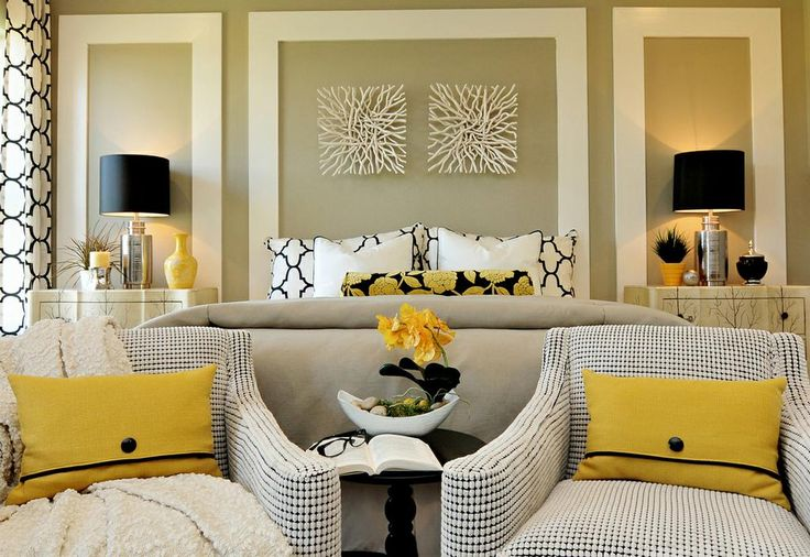 black+and+white+and+yellow+bedroom+decorating+ideas | Black, White and Yellow Contemporary Master Bedroom