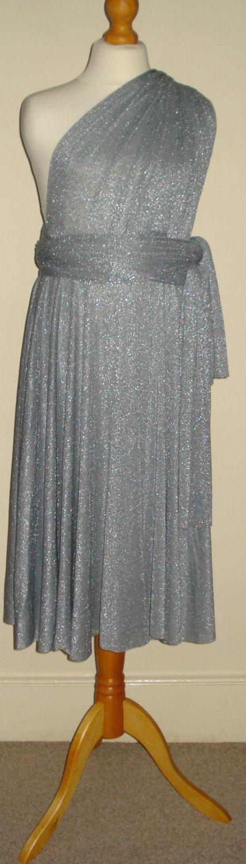 Sliver Glitter Grey Flower girl dress multiway bridesmaid dress junior infinity dress convertible bridesmaid dress girl party…