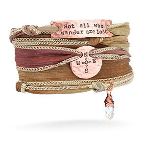 """Tolkien Silk Wrap Bracelet.  """"Not all those who wander are lost.""""  Love this so much."""