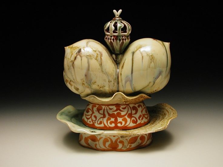 "Bruce Dehnert. ""Lofoten Cream"". Butterdish. Porcelain. Wheelthrown and handbuilt. Flashing Slip. Multiple glazes. 13in. X 9in. X 12in."